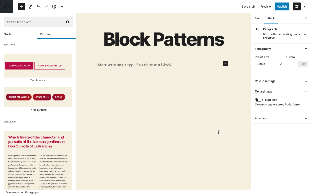 block patterns in WordPress 5.5