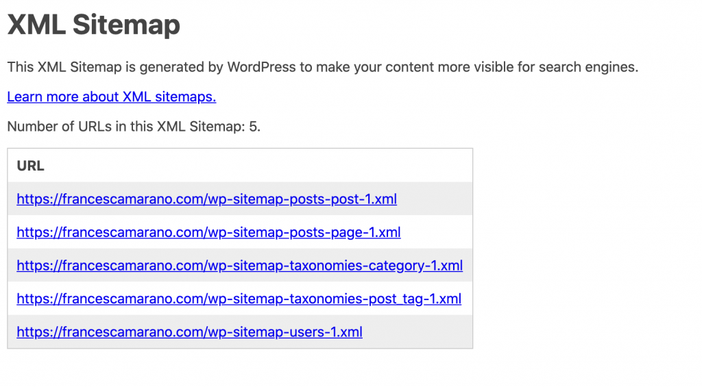 native sitemaps in WordPress 5.5