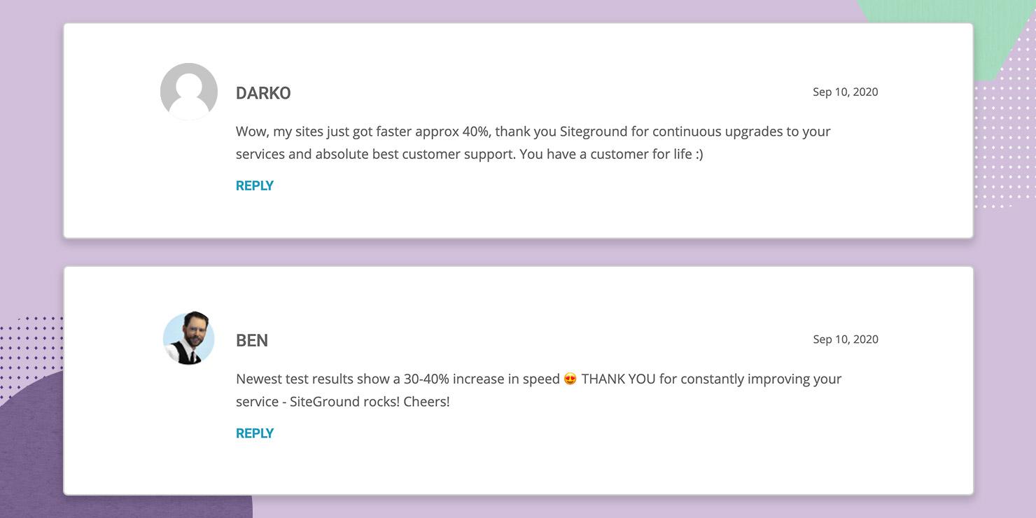 Customer commenting on UltraFastPHP