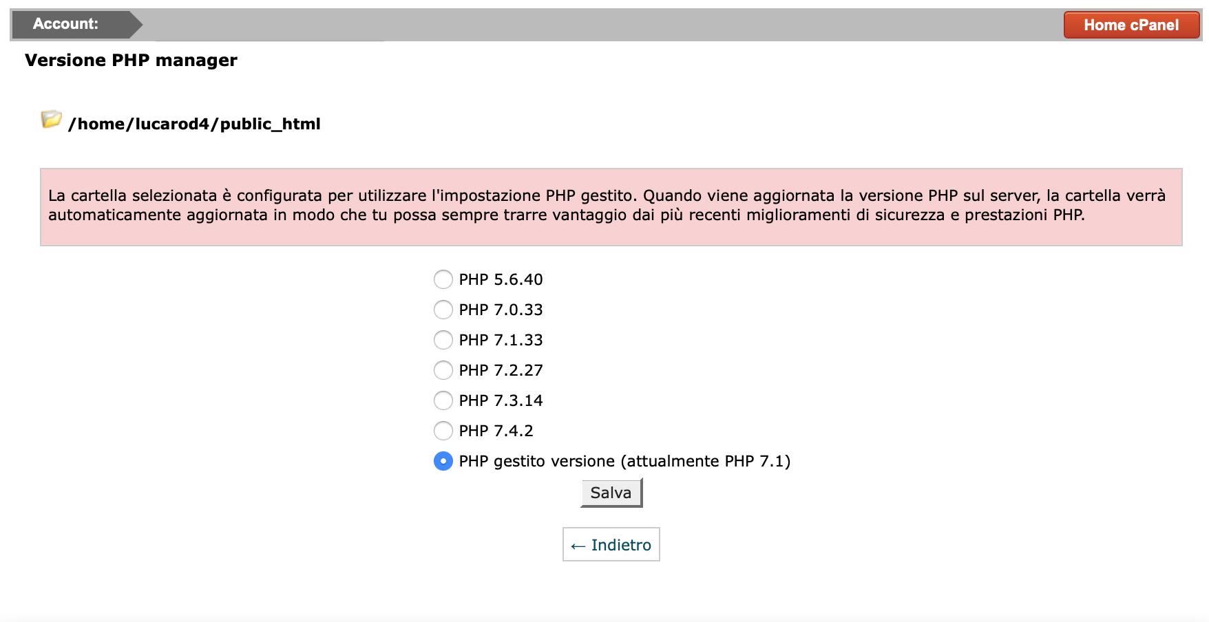 PHP gestito cPanel
