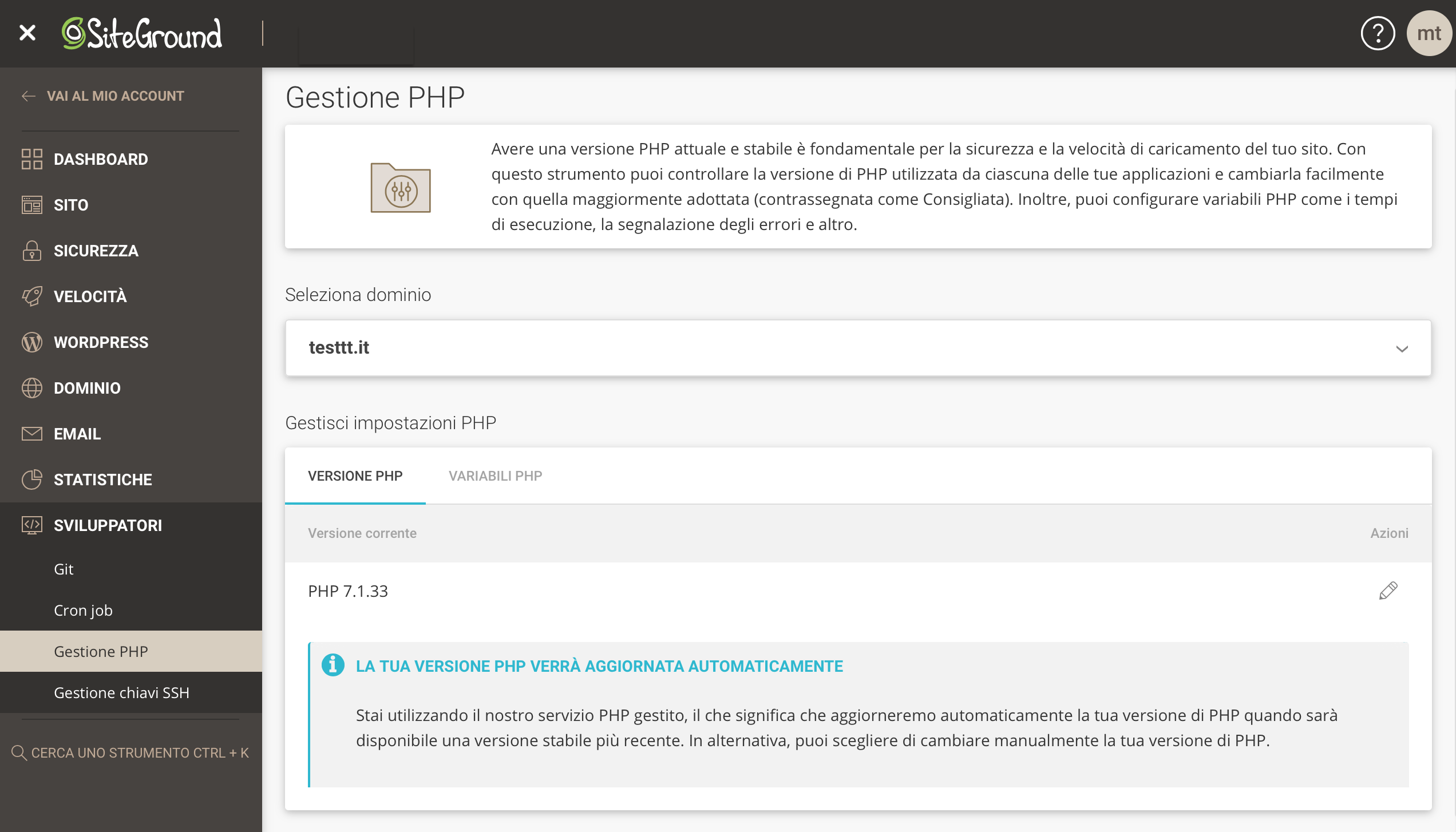PHP gestito Site Tools
