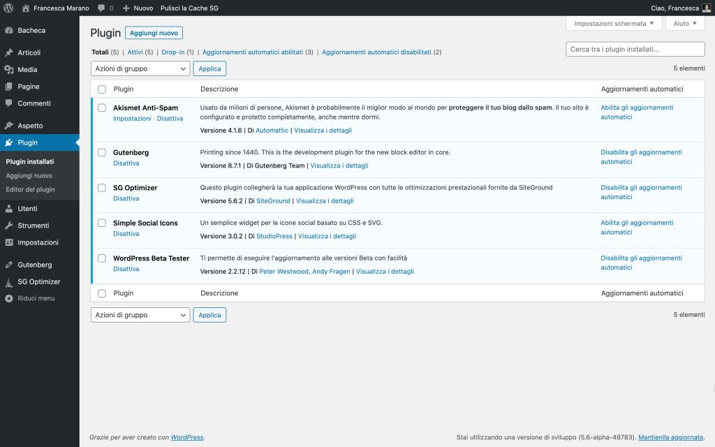 aggiornamenti automatici dei plugin in WordPress 5.5