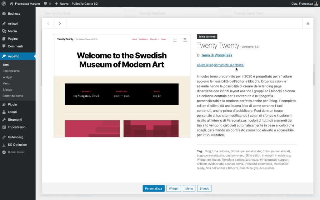 aggiornamenti automatici dei temi in  WordPress 5.5