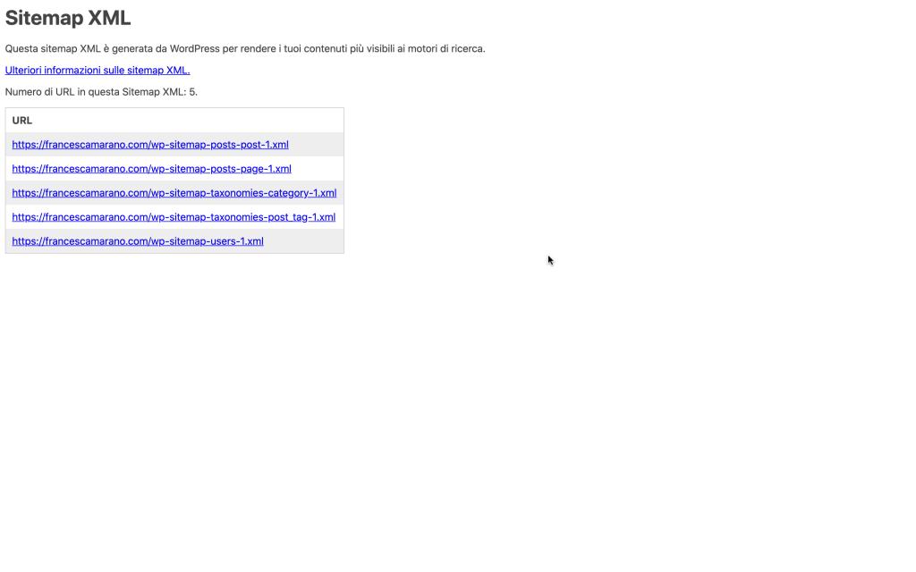 creare sitemap xml in WordPress 5.5