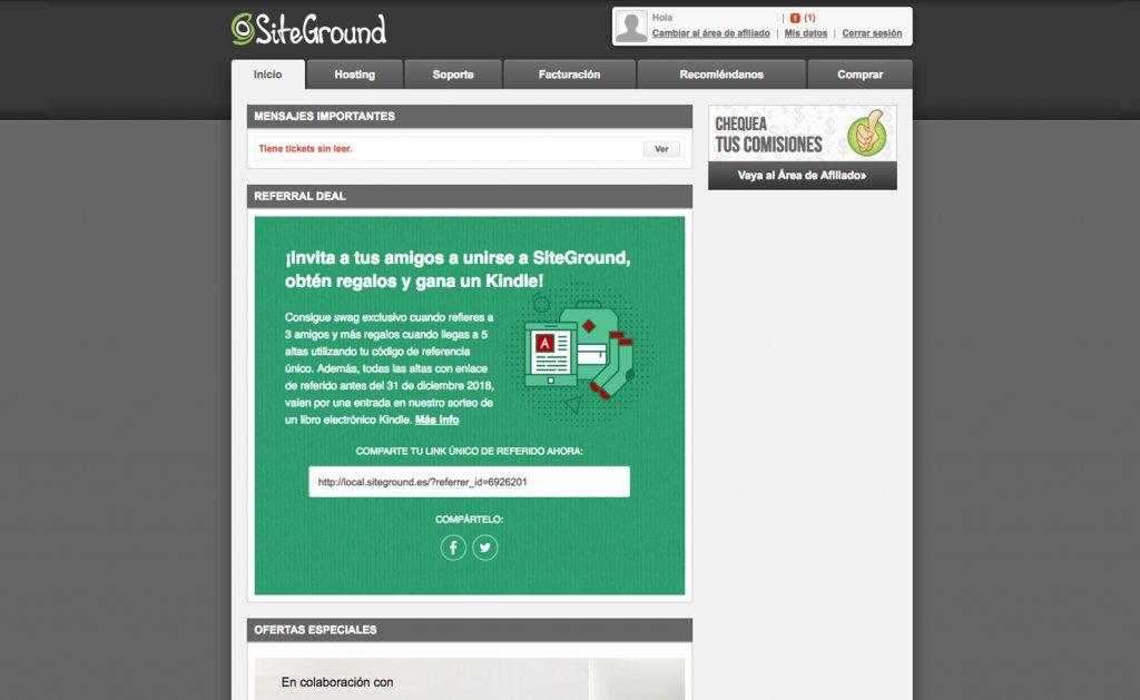área de usuario de SiteGround desde 2019 hasta 2019
